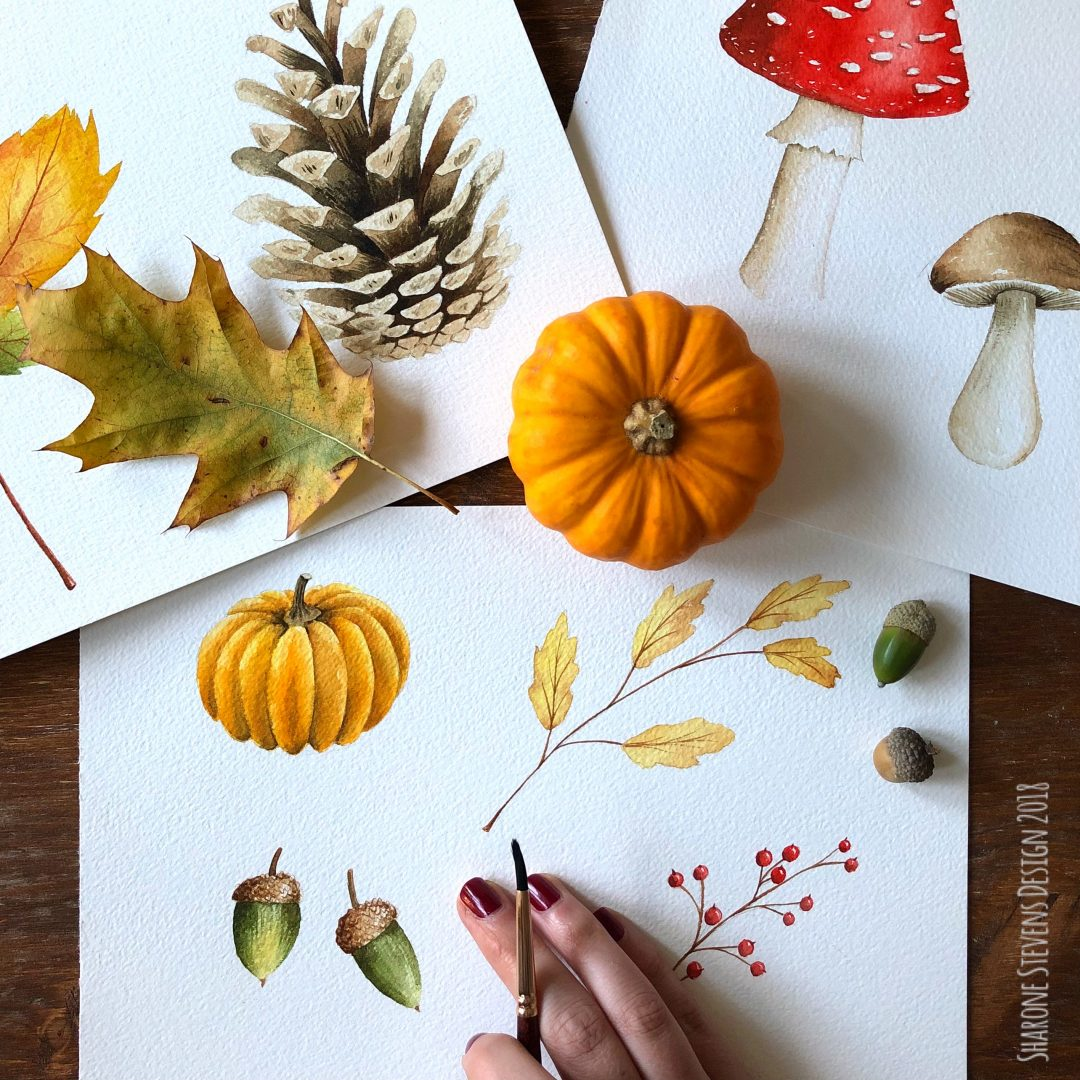Painting of various autumn subjects in watercolour