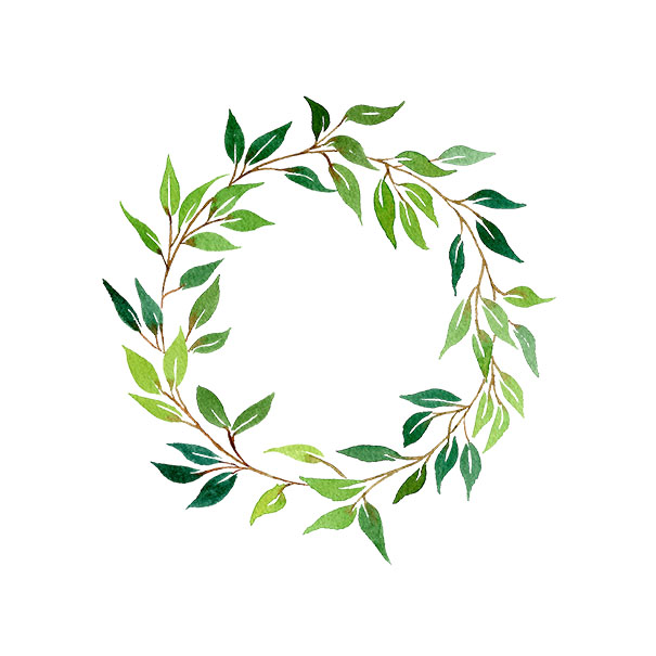 A watercolour wreath digitised in Photoshop