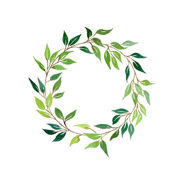 Digitised watercolour wreath