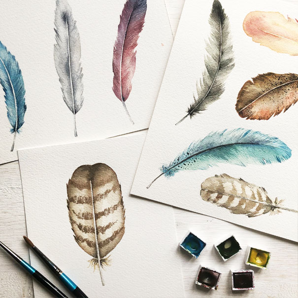 Watercolour feathers examples