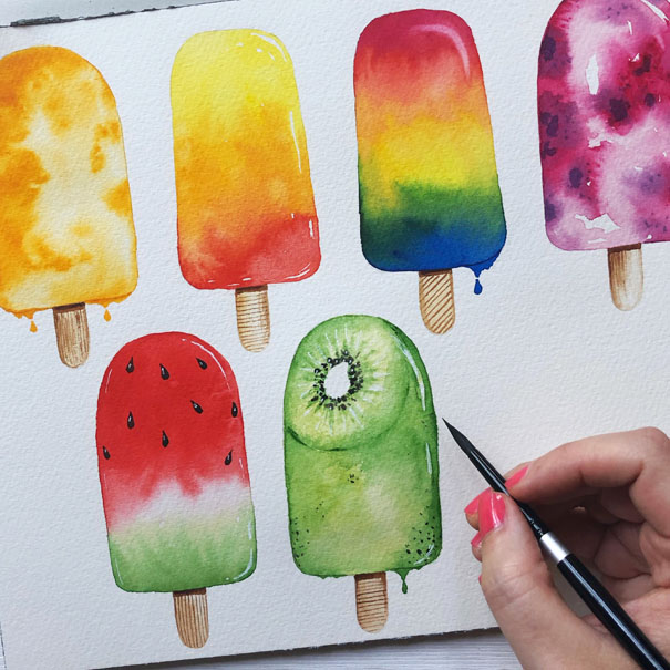 Examples of watercolour ice lollies