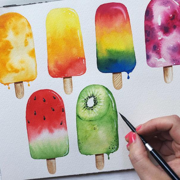 Watercolour Ice Lollies