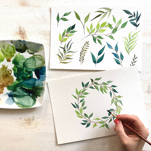 Watercolour Leaves & Wreath