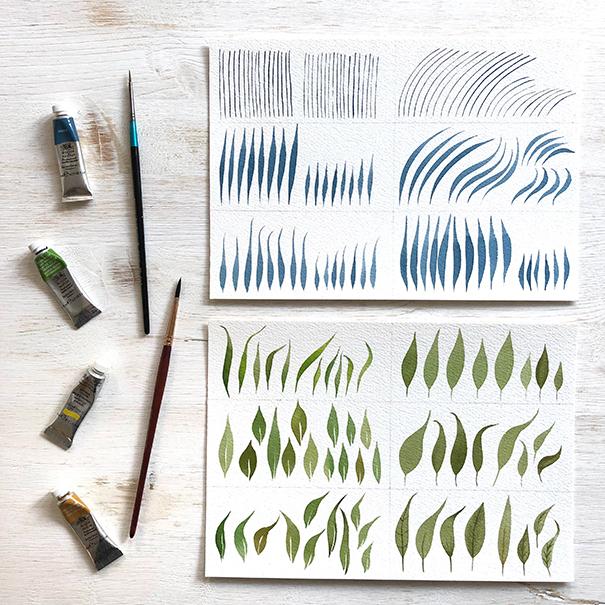Watercolour Leaves - Practice Brush Strokes