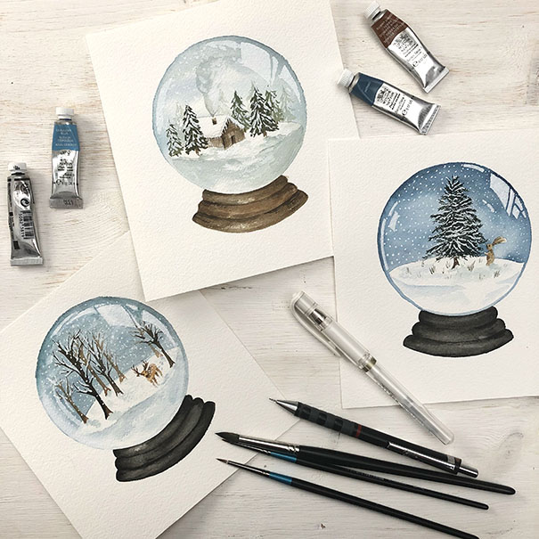 Watercolour Snowglobes