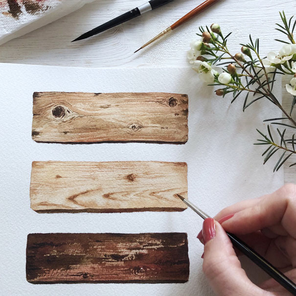 Examples of watercolour wood