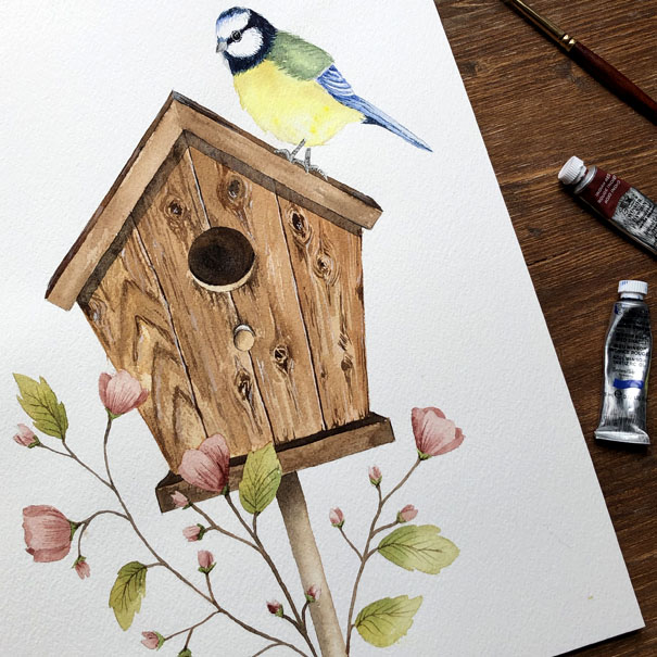 Watercolour Birdhouse with flowers and a bird