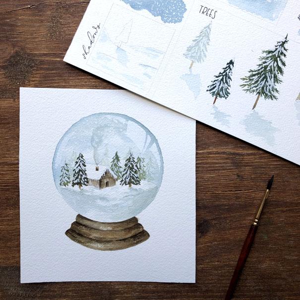 Wintry Cabin Snowglobe