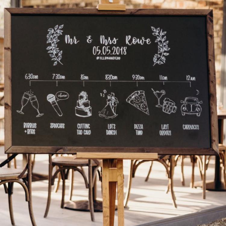 Illustrated Wedding Timeline Chalkboard