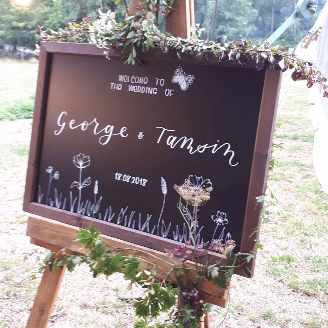 Wedding Welcome Chalkboard with Modern Calligraphy