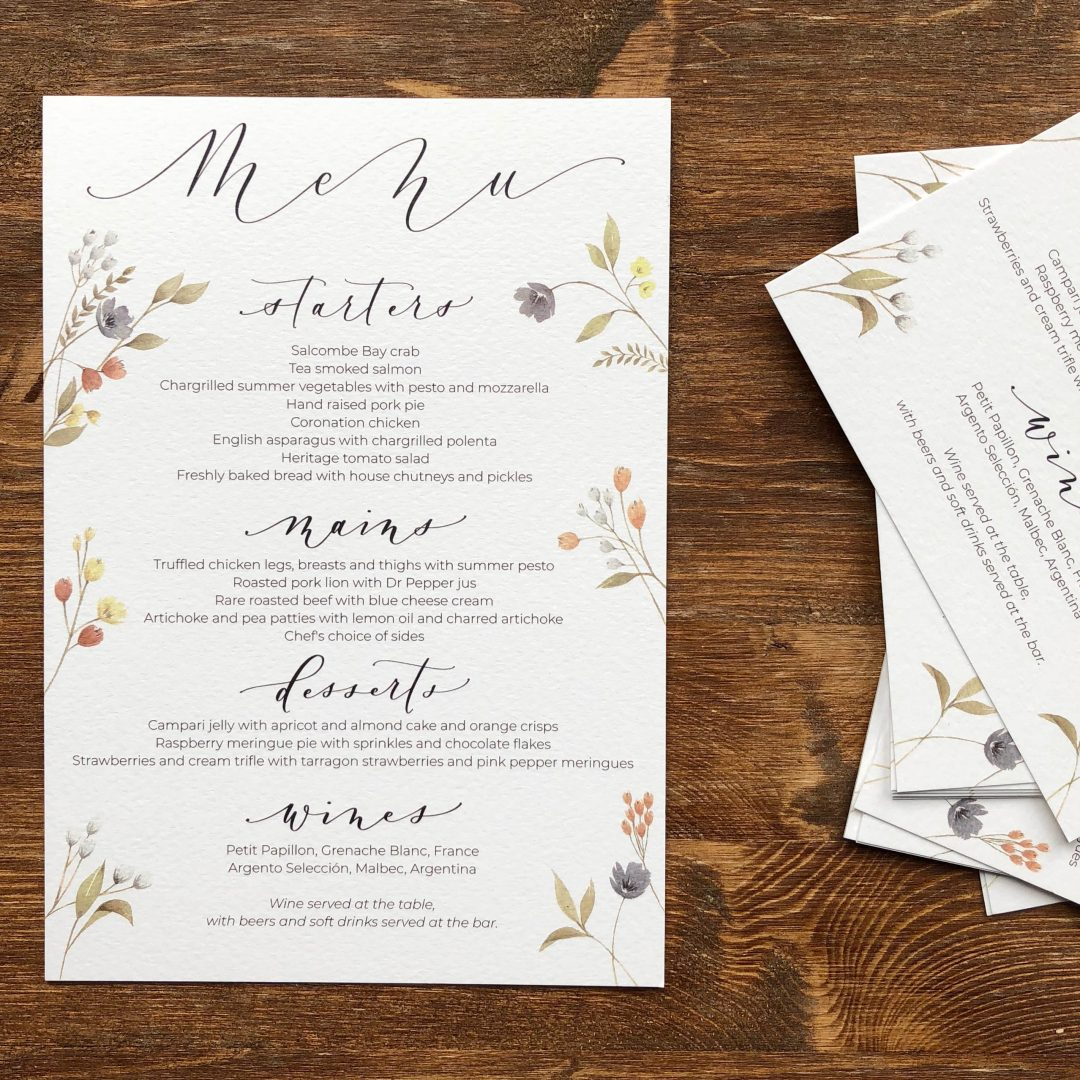 Wedding Menu with Watercolour Flowers and Modern Calligraphy