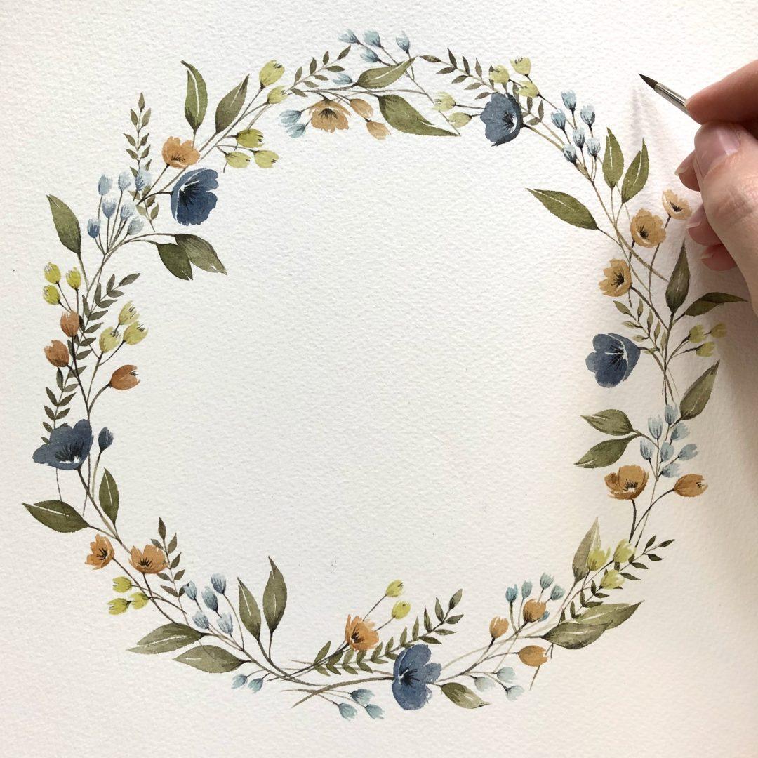 Watercolour Floral Wreath