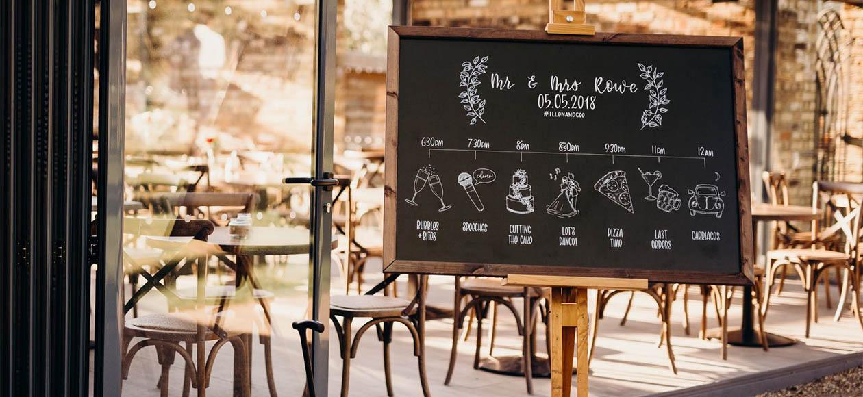 Illustrated Wedding Timeline Chalkboard by Sharone Stevens