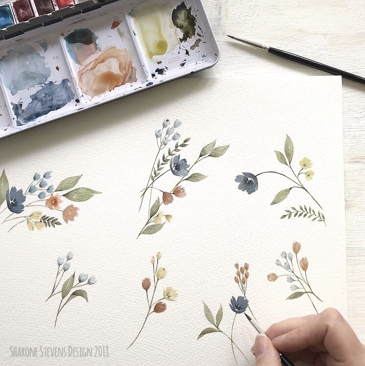 Delicate Watercolour Flowers