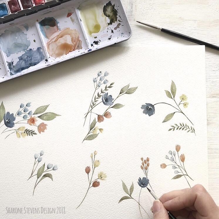 Delicate Watercolour Flowers
