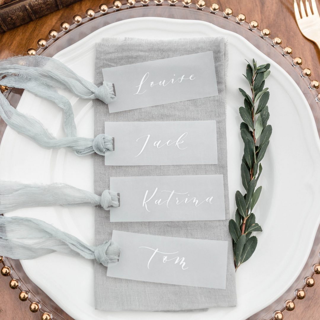 Modern Calligraphy Name Tags - White Ink on Vellum