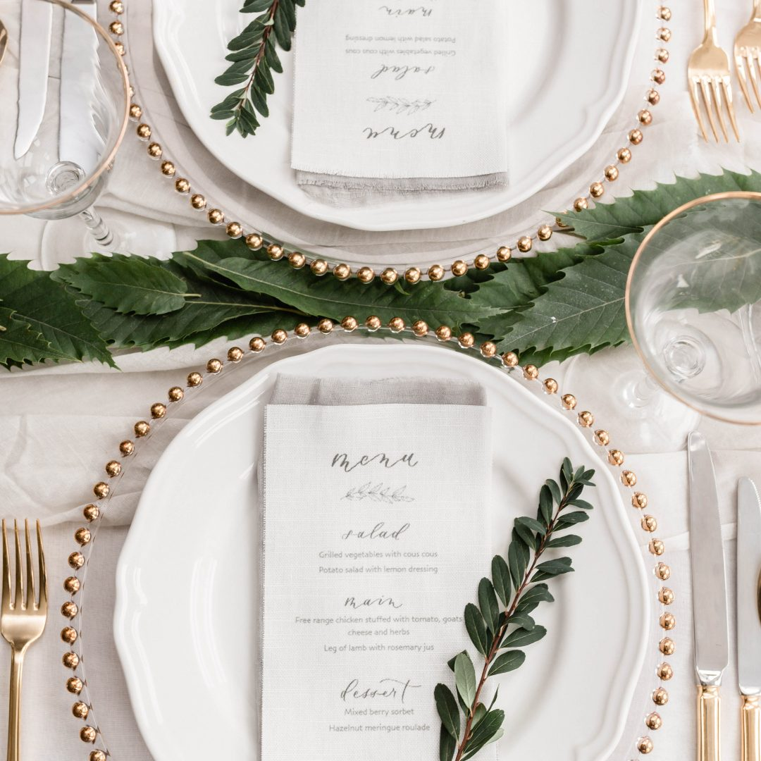 Fabric Menus with Modern Calligraphy