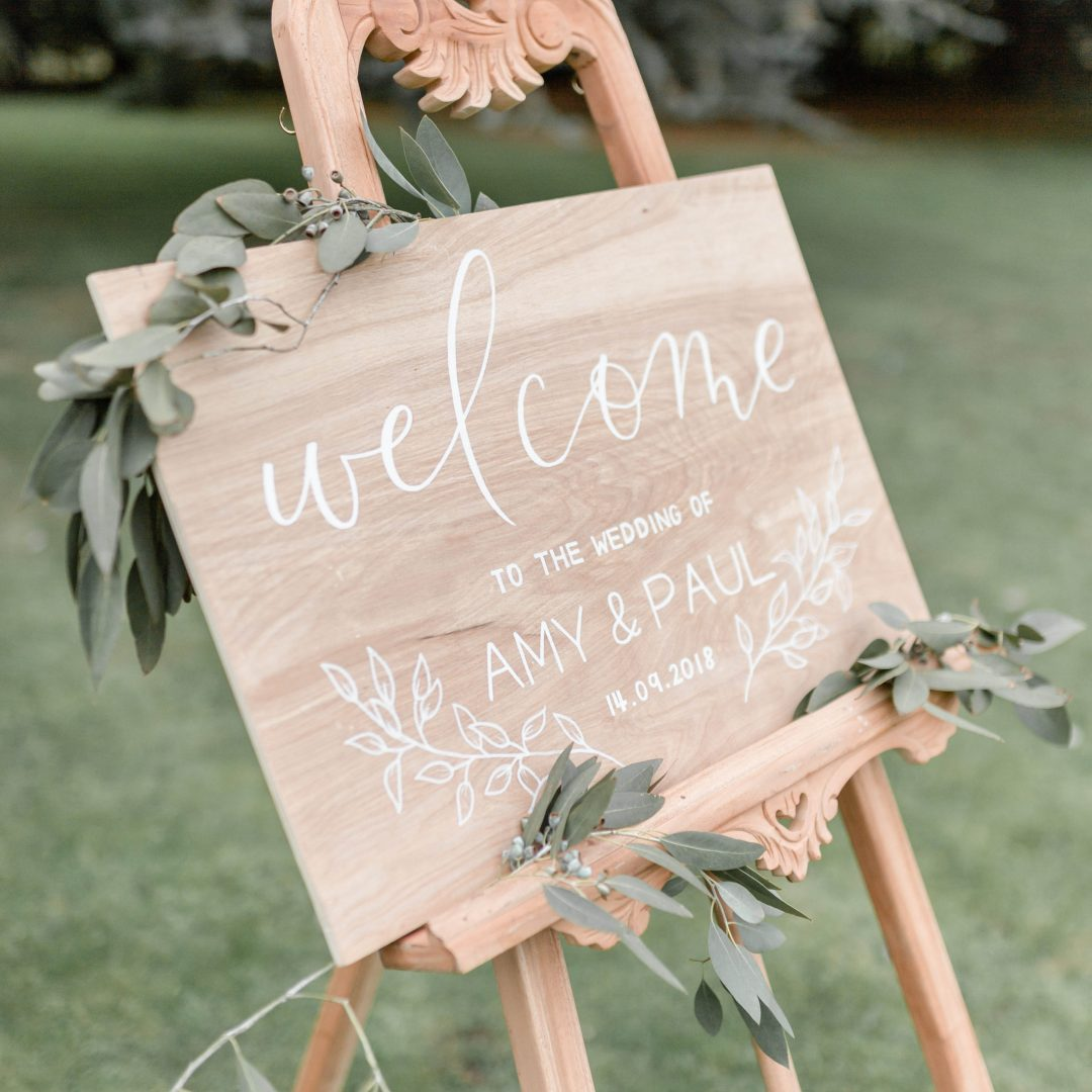 Wooden Wedding Welcome Board with Modern Calligraphy
