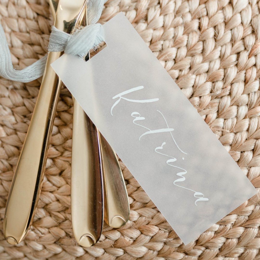 Modern Calligraphy Name Tag - White Ink on Vellum