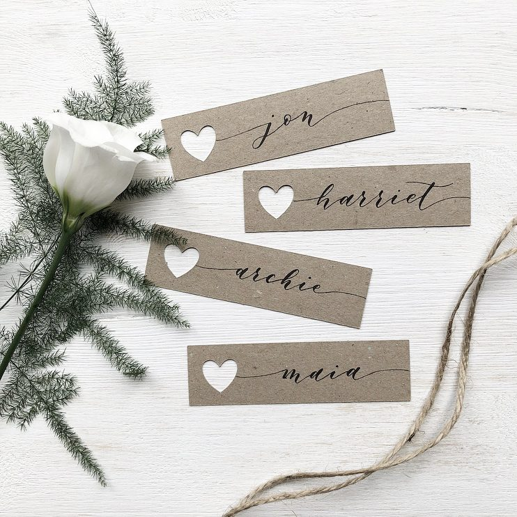Kraft Name Tags with Modern Calligraphy in Black Ink