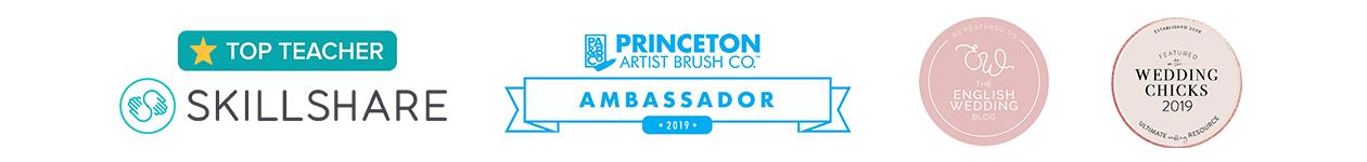 Accreditations - Skillshare Top Teacher, Princeton Brush Ambassador, English Wedding blog feature, Wedding Chicks feature