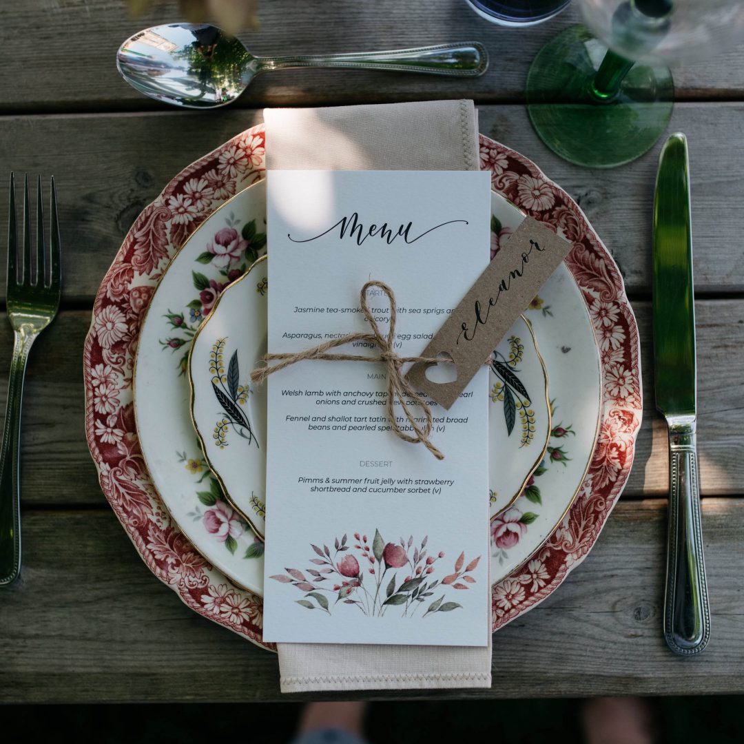Wedding Menu with Watercolour Flowers