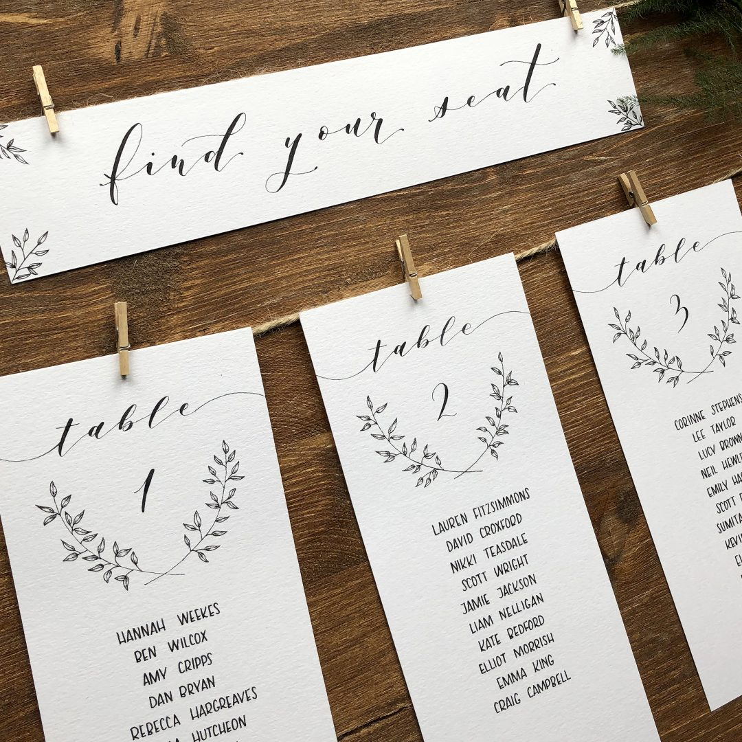 Handdrawn Wedding Table Plan with Modern Calligraphy